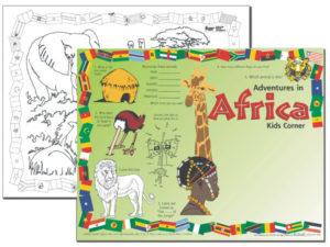 Adventures in Africa Kids Corner Placemat